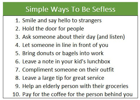 10 Ways To Be Selfless